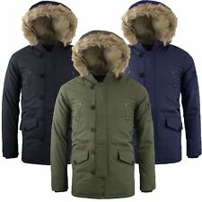 Mens Padded Fur Lined Sherpa Hooded Parka Quilted Winter Coat Jacket S-XL LIAM