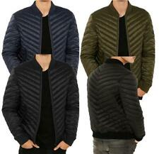 Mens URBAN CLASSICS Padded Angled Quilted Bomber Jacket Coat Warm Winter POWER