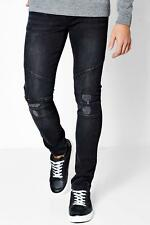 Boohoo Skinny Fit Jeans with Biker Panelling per Uomo