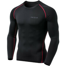 TSLA Tesla MUD01 Cool Dry Long Sleeve Compression Shirt - Black/Red