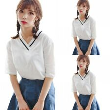 Fashion Women Casual Loose Short Sleeve Shirt Summer V-neck Blouse Tops Tee New