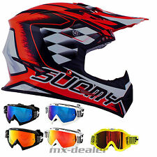 SUOMY RUMBLE STROKES Rojo Neón CASCO CROSS MX Motocross cruzar + HP7 Gafas DH