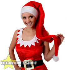 TALL FLOPPY RED SANTA HAT WHITE FAUX FUR ADULTS CHRISTMAS XMAS FANCY DRESS