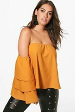 Boohoo Plus Kerry Off The Shoulder Ruffle Sleeve Top para Mujer