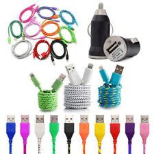 1m/2m/3m Braided Lightning USB Charger Cable & Car Charger for iPhone X 8 7 6 5