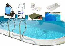 Piscina Pareti in acciaio poolset SET COMPLETO All-in-One OVALE H120CM 0.8mm
