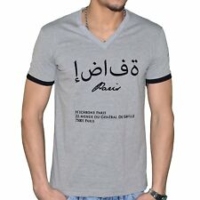 HECHBONE - T SHIRT MANCHES COURTES - COL V - HOMME - SANA'A - GRIS NEUF