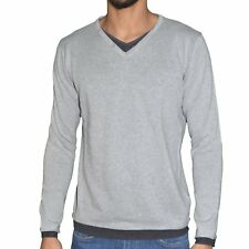 CROSSBY - PULL FIN - COL V DOUBLE - HOMME - REBEL - GRIS CLAIR CHINÉ NEUF