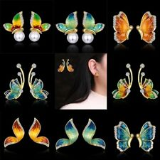 Butterfly Wing Oil Crystal Pearl Ear Stud Earrings Womens Jewellery Wedding Gift