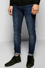 Boohoo Dark Washed Indigo Stretch Skinny Fit Jeans para Hombre