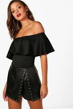Boohoo Tall Millie Off The Shoulder Ruffle Bodysuit para Mujer