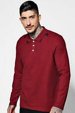 Boohoo Long Sleeve Star Embroidered Polo Shirt para Hombre