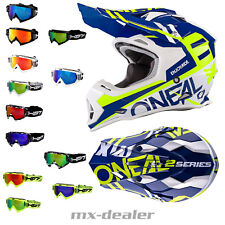 O'NEAL 2series spyde azul amarillo neón CASCO CROSS MX Motocross HP7 GAFAS