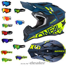 O'NEAL 2series spyde NEGRO AMARILLO CASCO CROSS MX Motocross HP7 GAFAS