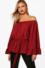 Boohoo Lucy Off The Shoulder Flare Sleeve Top per Donna