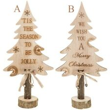 New Xmas Wooden Message Christmas Tree 30cm 2 Quotes Wood Ornament Decoration