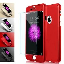 360° Full Hybrid Tempered Glass+Acrylic Hard Case Cover For iPhone 5 6 7+ 8 Plus