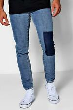Boohoo Pale Blue Skinny Fit Patch Wash Jeans para Hombre