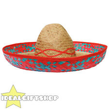 RED TRIM MEXICAN SOMBRERO STRAW HAT PACK WHOLESALE LOT FANCY DRESS WESTERN