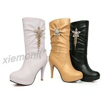Womens Pleated Chunky Heels Rhinestones Pull On Tassel Ankle Boots Winter Shoes