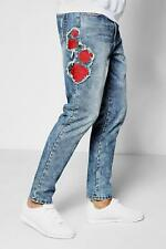 Boohoo Skinny Fit Rose Embroidered Denim Jeans para Hombre