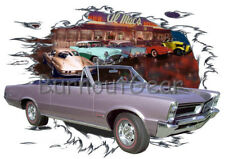 1965 Lavender Pontiac GTO Convertible Hot Rod Diner T-Shirt 65 Muscle Car Tees