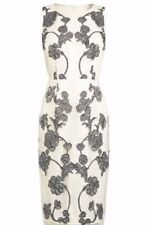 Next  White & Grey Embroidered Floral Mesh Dress Sz UK 10 & 16 Reg Petite Tall