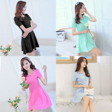 Women's Casual Hollow Out Dress Cocktail Evening Party Short Sleeve Mini Dresses