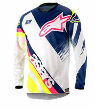 18 Alpinestars Racer Supermatic mx motocross cross blanco Jersey azul amarillo