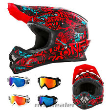 O'NEAL 3series ATTACK ROJO CASCO CROSS Casco MX Motocross Cross HP7 GAFAS ENDURO