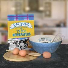 Personalised Blue Mixing Bowl and Recipe Book - Choose Decade from 30's to 90's