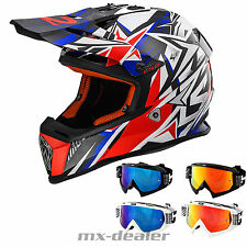 LS2 MX 437 rápido fuerte ROJO CASCO MOTOCROSS CASCO CROSS HP7 Gafas reflectantes