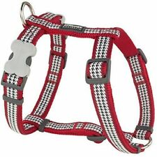 Red Dingo Adjustable Harness - Red & White Dog Tooth