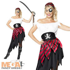 Pirate Wench Ladies Fancy Dress Womens Pirates Adults Party Dress Up Costume New