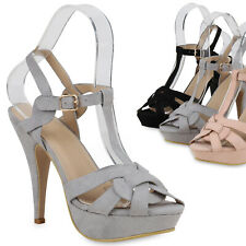 Damen Plateau Sandaletten High Heels Stiletto Party Schuhe T-Strap 821189 Trendy