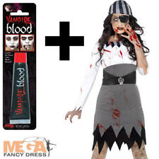 Zombie Pirate + Blood Ladies Hallowen Fancy Dress Womens Adults Costume Outfit