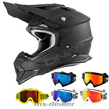 O'NEAL 2Series RL FLAT NERO OPACO CASCO CROSS MX motocross occhiali da