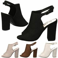 WOMENS SHOES LADIES ANKLE BOOTS PEEP TOE CUT OUT OPEN HEEL SLINGBACK SIZE NEW