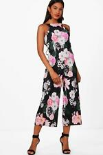 Boohoo Lianne Floral Crinkle Culotte Jumpsuit per Donna