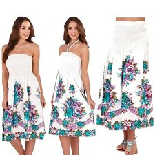 Ladies Green & White Rose Print 3 in 1 Strapless Bandeau &Halter Dress Long Maxi