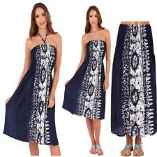 Ladies Navy and White Tie &Dye 3 in 1 Strapless Bandeau & Halter Dress Long Maxi