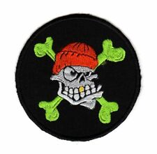 Army Tactical Morale Biker Motorcycle Patch Skull Hat Cross Bones Gold Tooth