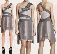 $598 BCBG Maxazria Runway Pleated Contrast Lace Tulle One Shoulder Dress 10