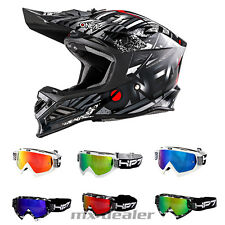 O'NEAL 8Series synthy NERO CASCO DA CROSS MX MOTOCROSS CROSS + HP7 Occhiali BMX
