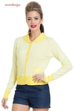 VOODOO VIXEN Sasha Lemon Cardigan CAA3024 Yellow Vintage Cardi Top SS18 UK8-16