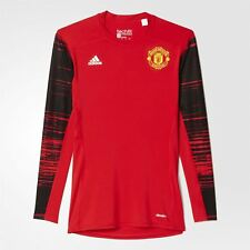 adidas Manchester United Techfit T-shirt a maniche lunghe ROSSO Climalite