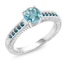 1.37 Ct Round Blue Zircon Blue Diamond 925 Sterling Silver Ring