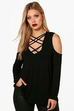 Boohoo Plus Eleanor Open Shoulder Lace Up Top per Donna
