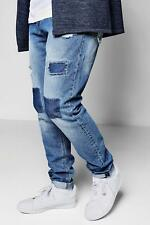 Boohoo Mid Blue Tonal Patchwork Jean In Tapered para Hombre