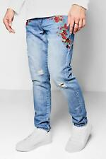 Boohoo Skinny Fit Floral Pocket Embroidered Jeans per Uomo